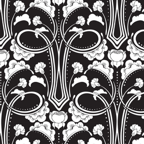Black and White Deco Floral