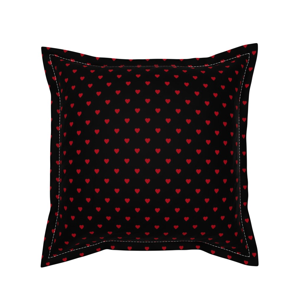 Serama Throw Pillow featuring Dark Red Hearts on Black by mtothefifthpower