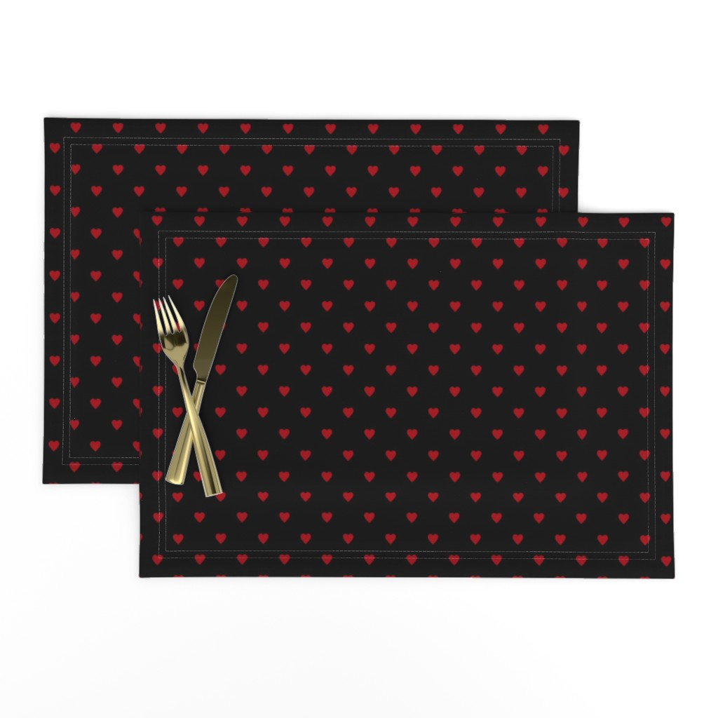 Lamona Cloth Placemats featuring Dark Red Hearts on Black by mtothefifthpower
