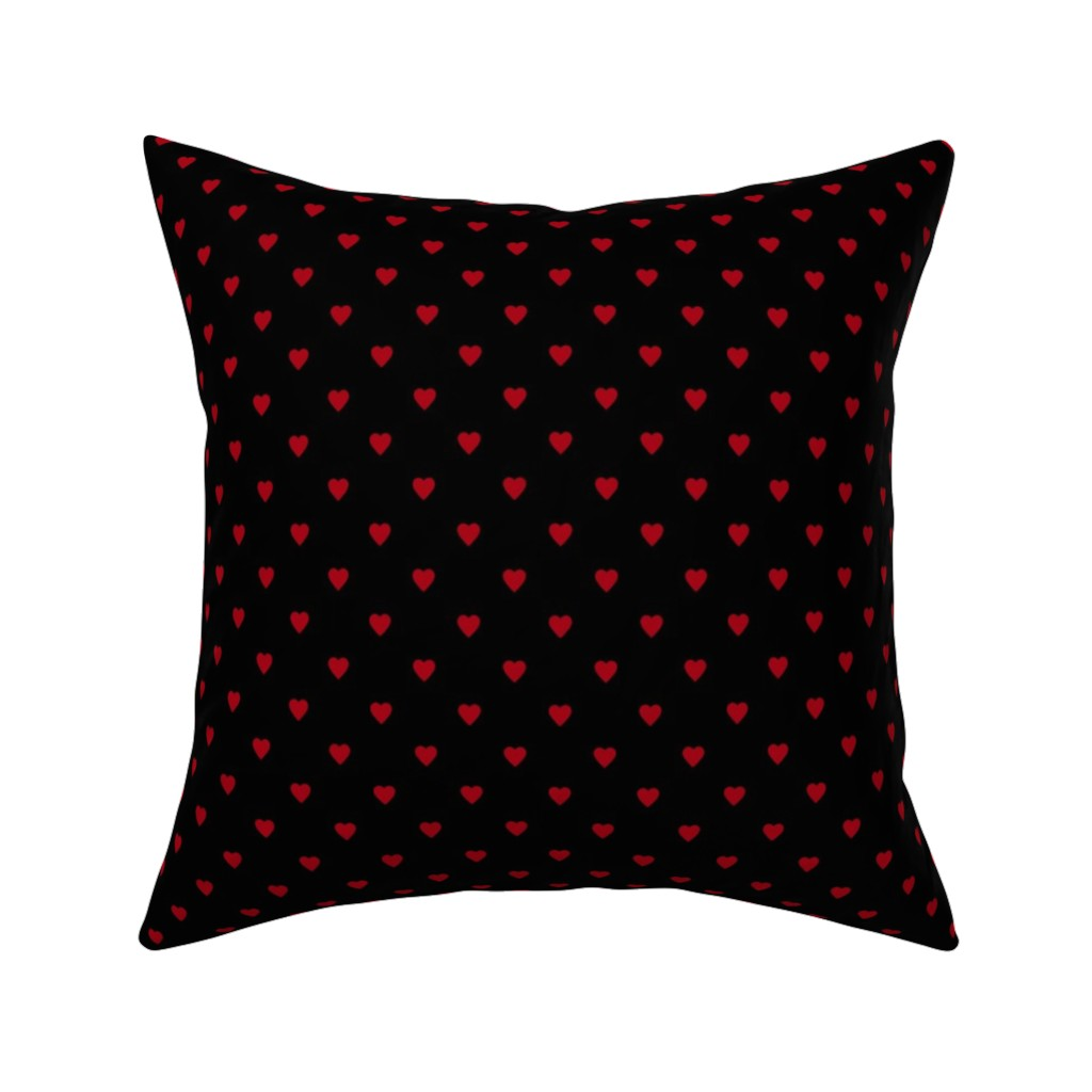 Catalan Throw Pillow featuring Dark Red Hearts on Black by mtothefifthpower