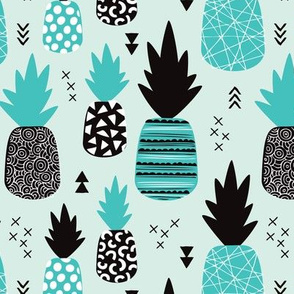 Awesome blue pineapple vintage summer fruit design in blue black and white