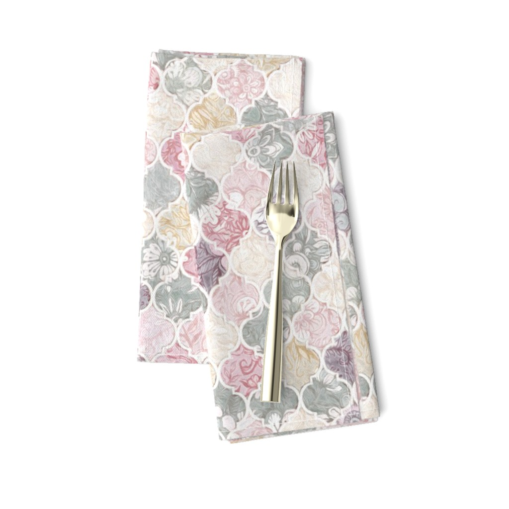 Amarela Dinner Napkins featuring Dusky Rose, Cream and Grey Floral Moroccan Tiles by micklyn