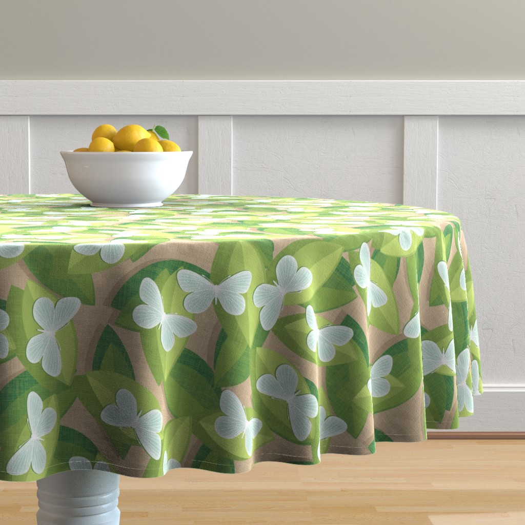 Malay Round Tablecloth featuring Wood White by spellstone