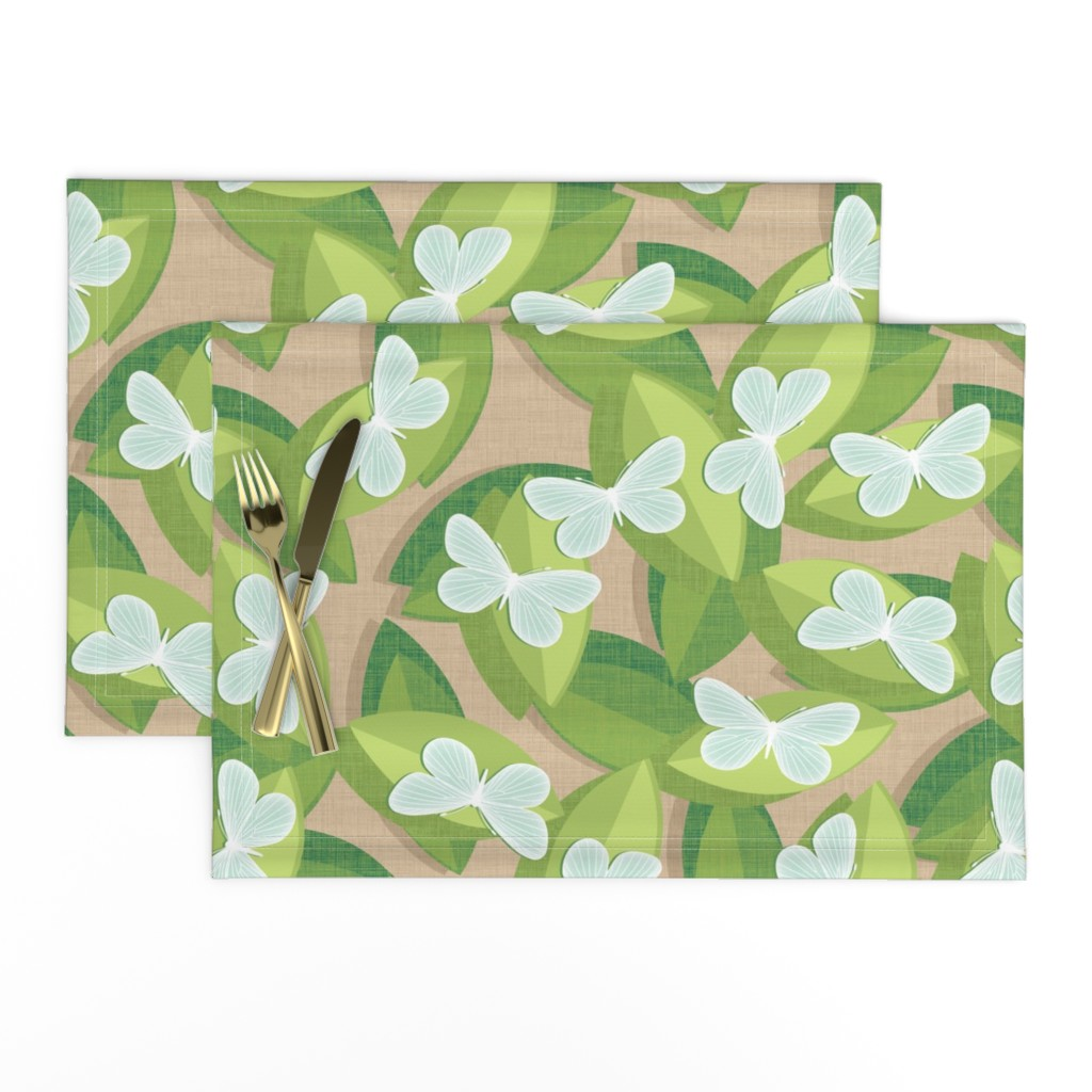 Lamona Cloth Placemats featuring Wood White by spellstone