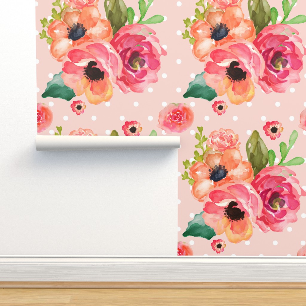 Isobar Durable Wallpaper featuring Floral Polka in Pink by shopcabin