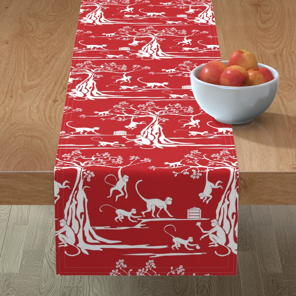 Minorca Table Runner featuring Year of the Monkey by ebygomm