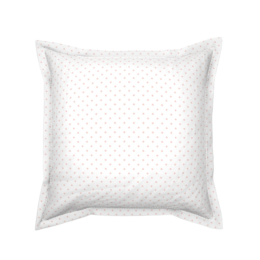 Serama Throw Pillow featuring Pink Polka Dots on White Background by shopcabin