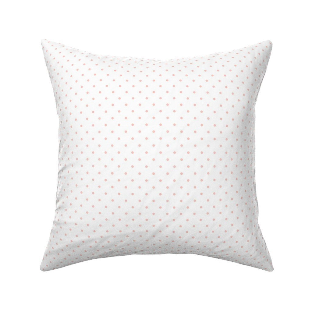 Catalan Throw Pillow featuring Pink Polka Dots on White Background by shopcabin
