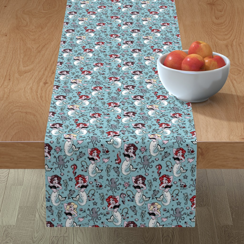 Minorca Table Runner featuring Molly Mermaid by Miss Fluff by miss_fluff