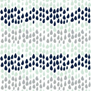 Pencil sketch geometry - grey and mint - raindrops 02