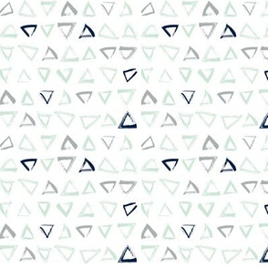 Pencil sketch geometry - grey and mint - triangles 01