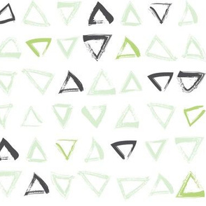 Pencil sketch geometry - green grass - triangles