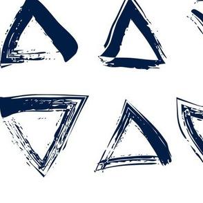 Pencil sketch geometry - midnight blue - triangles - big