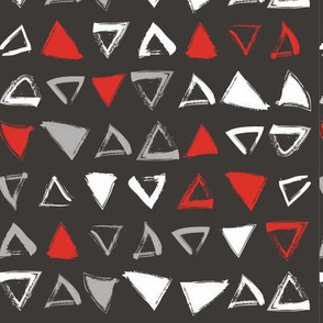 Pencil sketch geometry - red and black - triangles
