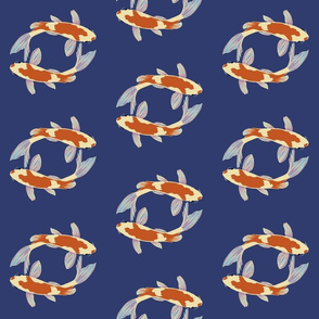 Pisces koi fish on blue water