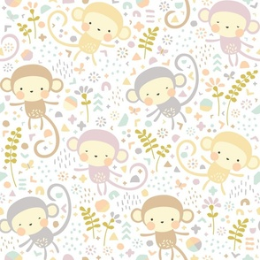 Little monkeys // by petite_circus // pastel peach gray purple cream // cute kids baby nursery //