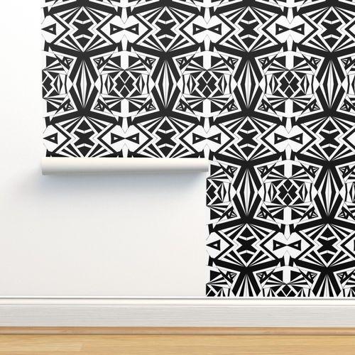 Wallpaper Black White Geometric Print