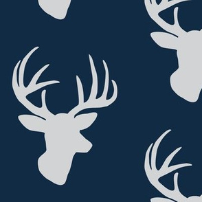 Grey deer on midnight blue