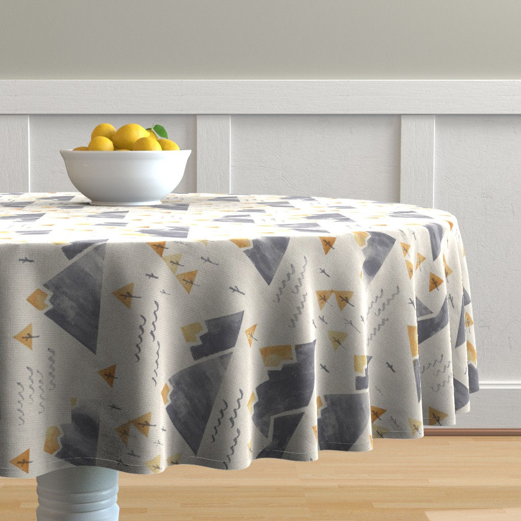Malay Round Tablecloth featuring Gold-Tipped Watercolor Mountains - Rotated 90 by papercanoefabricshop