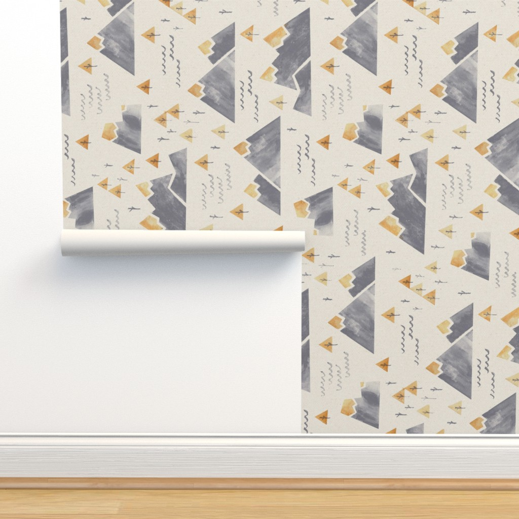 Isobar Durable Wallpaper featuring Gold-Tipped Watercolor Mountains - Rotated 90 by papercanoefabricshop