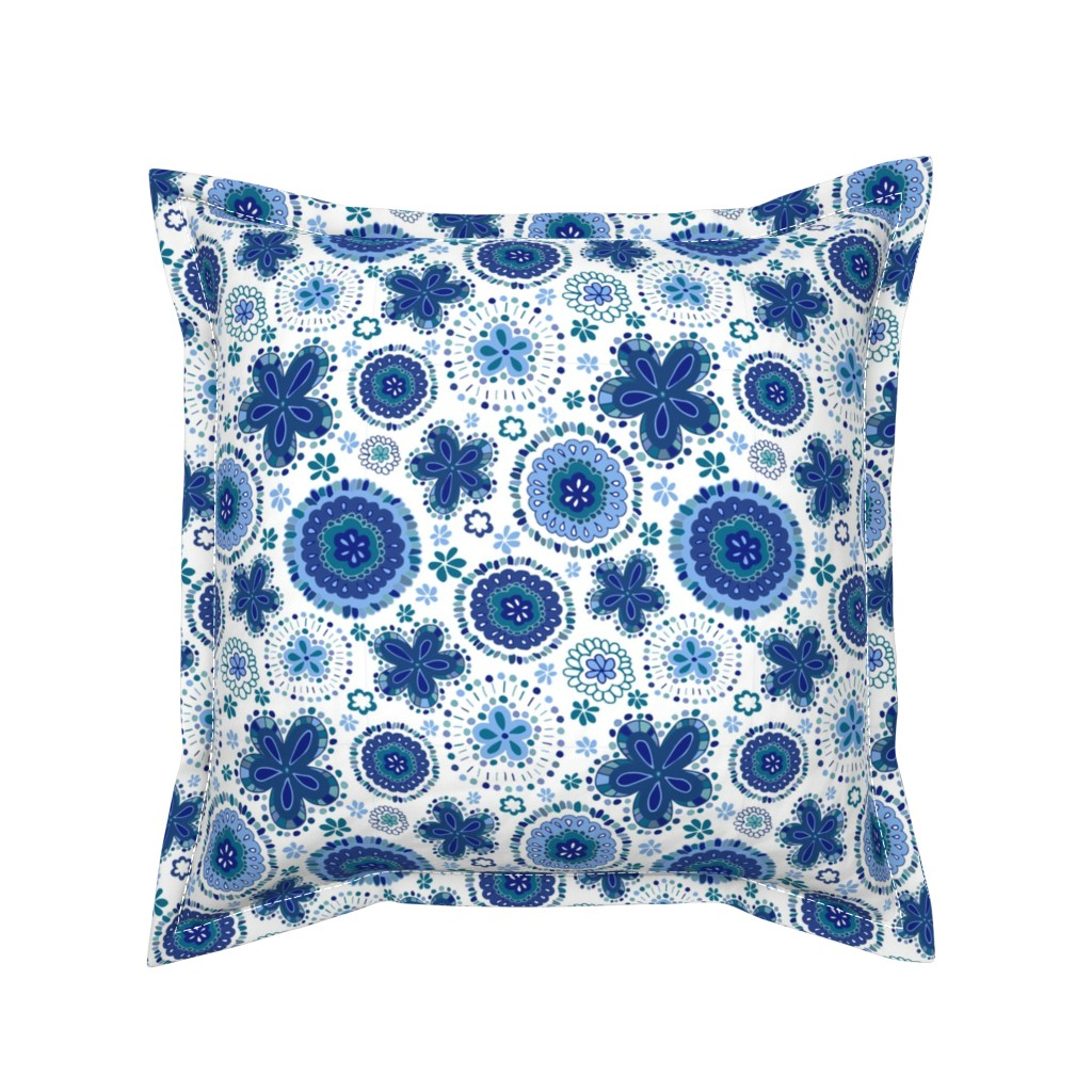 Serama Throw Pillow featuring Organic Medallions - Blue Sky by cleolovescolor