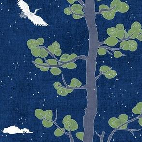 Forest Fabric, Crane Fabric | Indigo Japanese print fabric, bird fabric (medium scale)