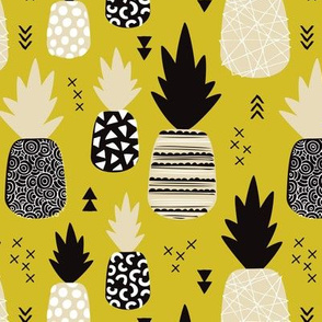 Awesome yellow pineapple vintage summer fruit design in mustard black and white