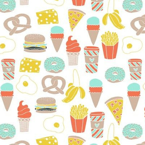 fast food // junk food cheese burger fries donut cafe coffee latte ice cream fast food