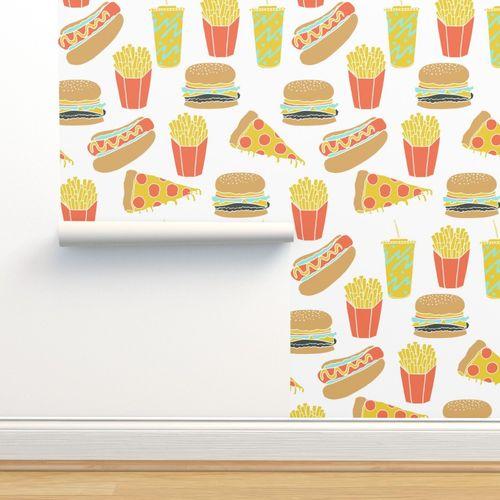 Wallpaper Junk Food Hot Dog Pizza Fries Soda Fried Food Fast Food Novelty Food Print