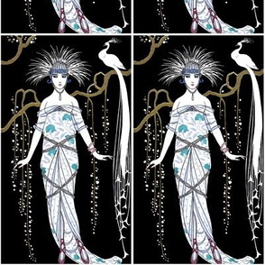 art deco woman lady female trees flowers branches willows peacocks white feathers vintage