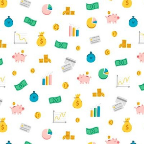 Cute financial theme items pattern