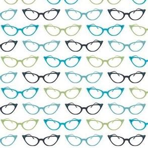 Small Scale Cat's Eye Glasses in Blue/Green/Gray ©Jennifer Garrett