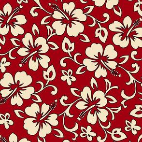 Hibiscus Flower Hawaiian Print in Red