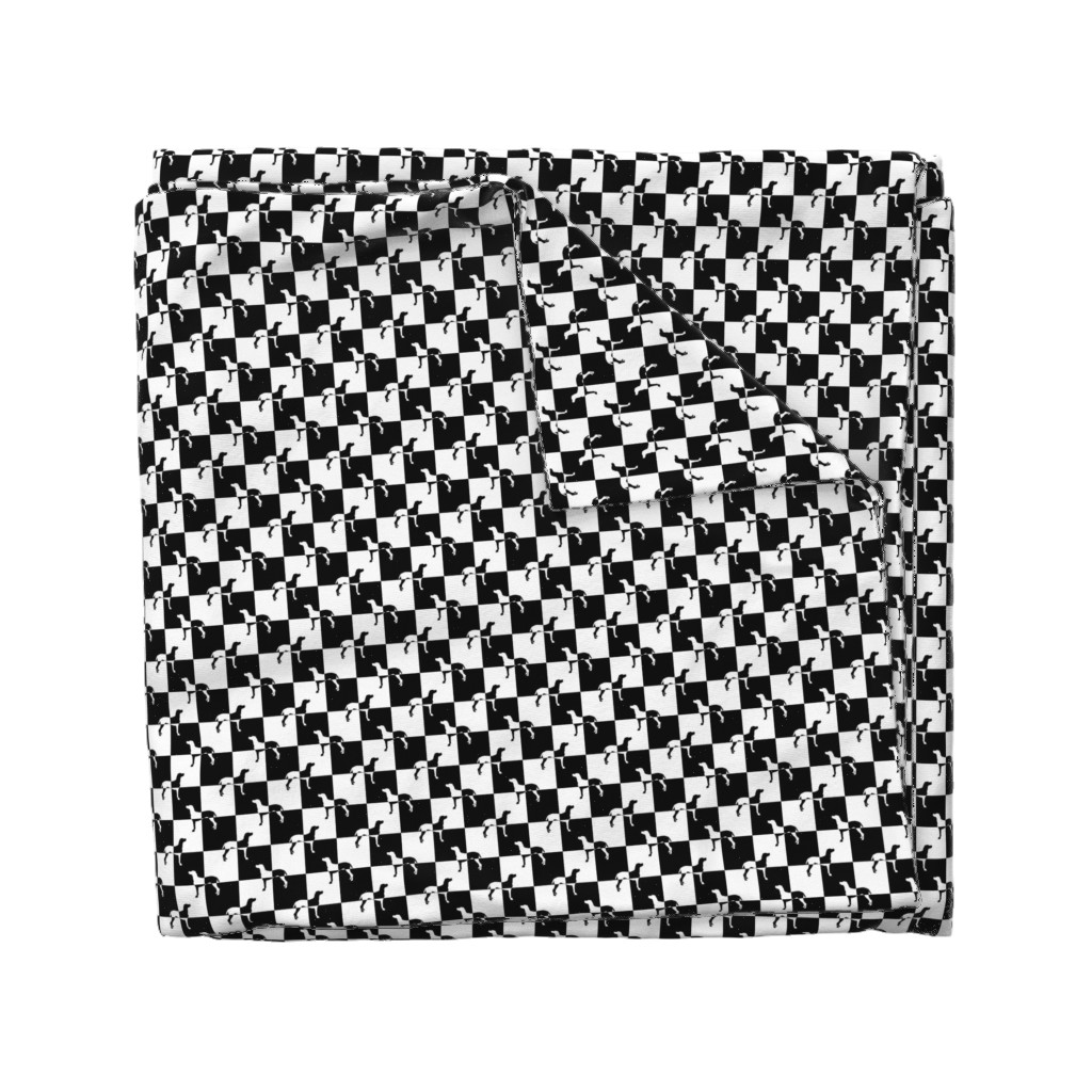 Wyandotte Duvet Cover featuring Black and White Weimaraners on Checkerboard by paper_and_frill