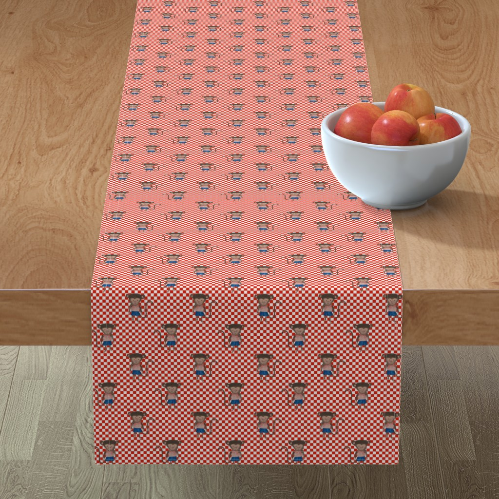 Minorca Table Runner featuring Monkey Boy Red and WhiteCheckers by paper_and_frill