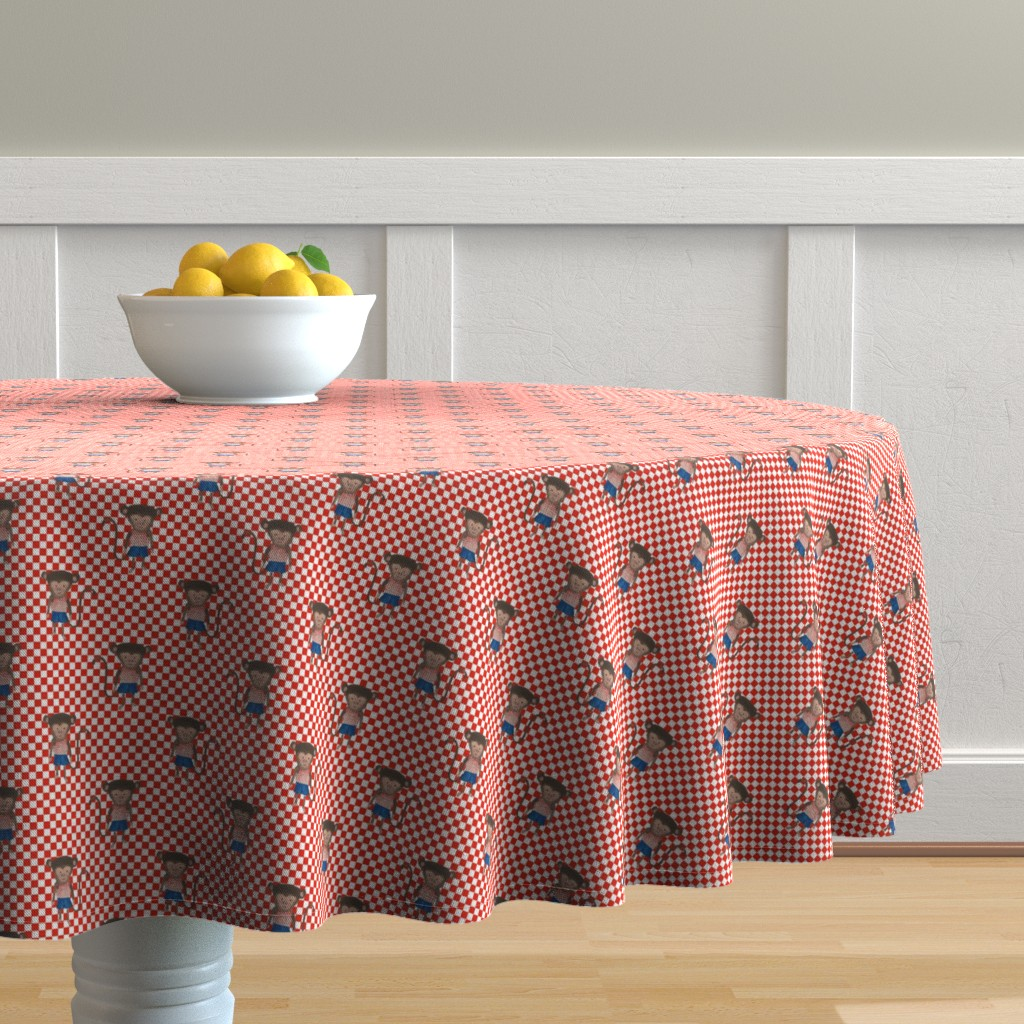 Malay Round Tablecloth featuring Monkey Boy Red and WhiteCheckers by paper_and_frill