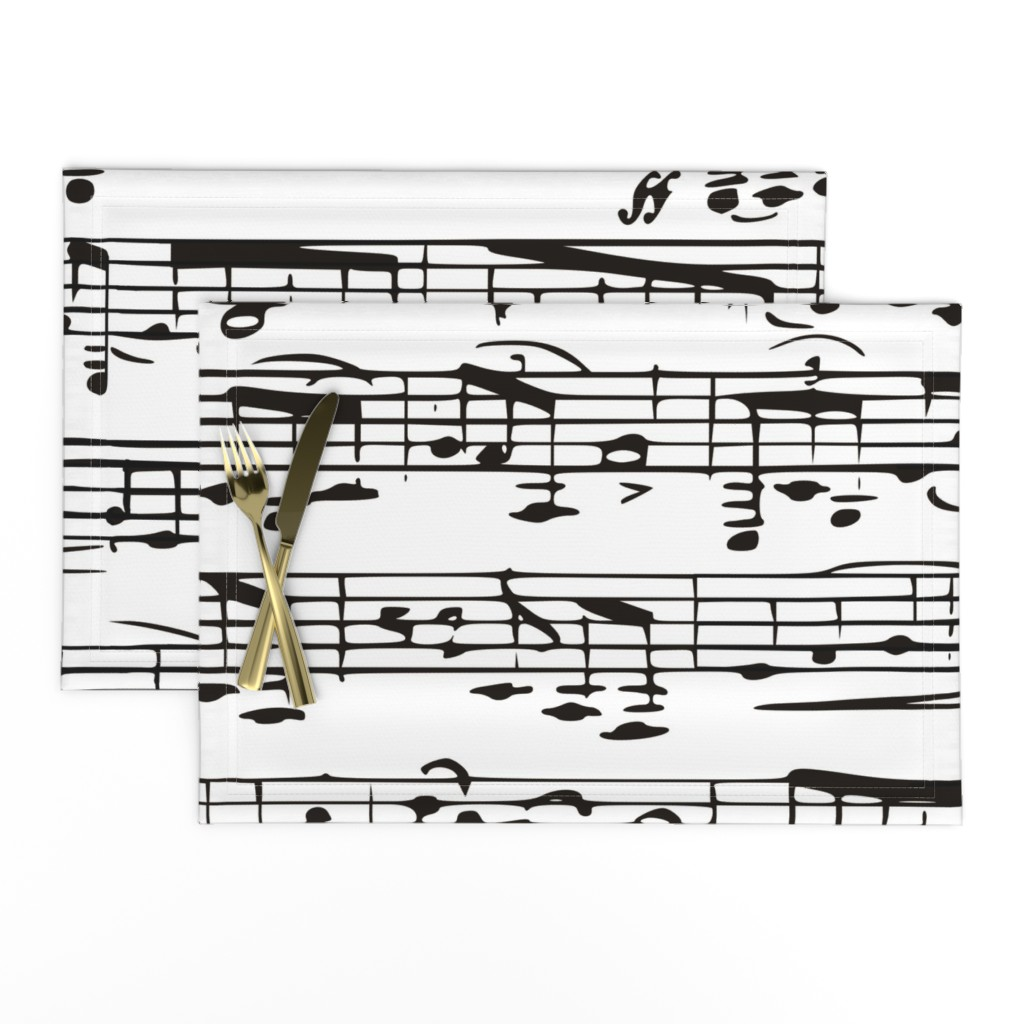 Lamona Cloth Placemats featuring Black and white Music Notes  - LARGE by inspirationz