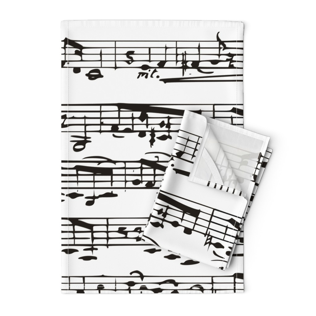 Orpington Tea Towels featuring Black and white Music Notes  - LARGE by inspirationz