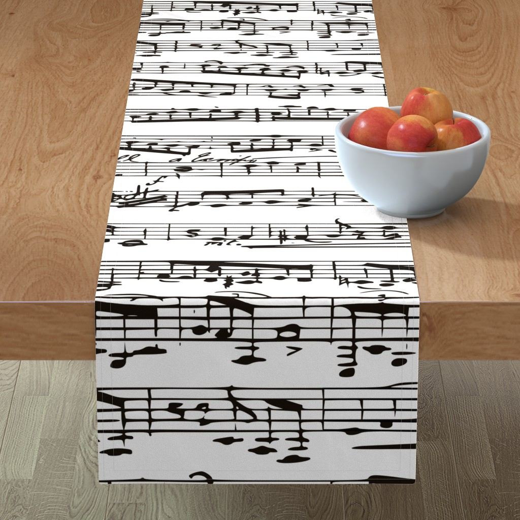 Minorca Table Runner featuring Black and white Music Notes  - LARGE by inspirationz