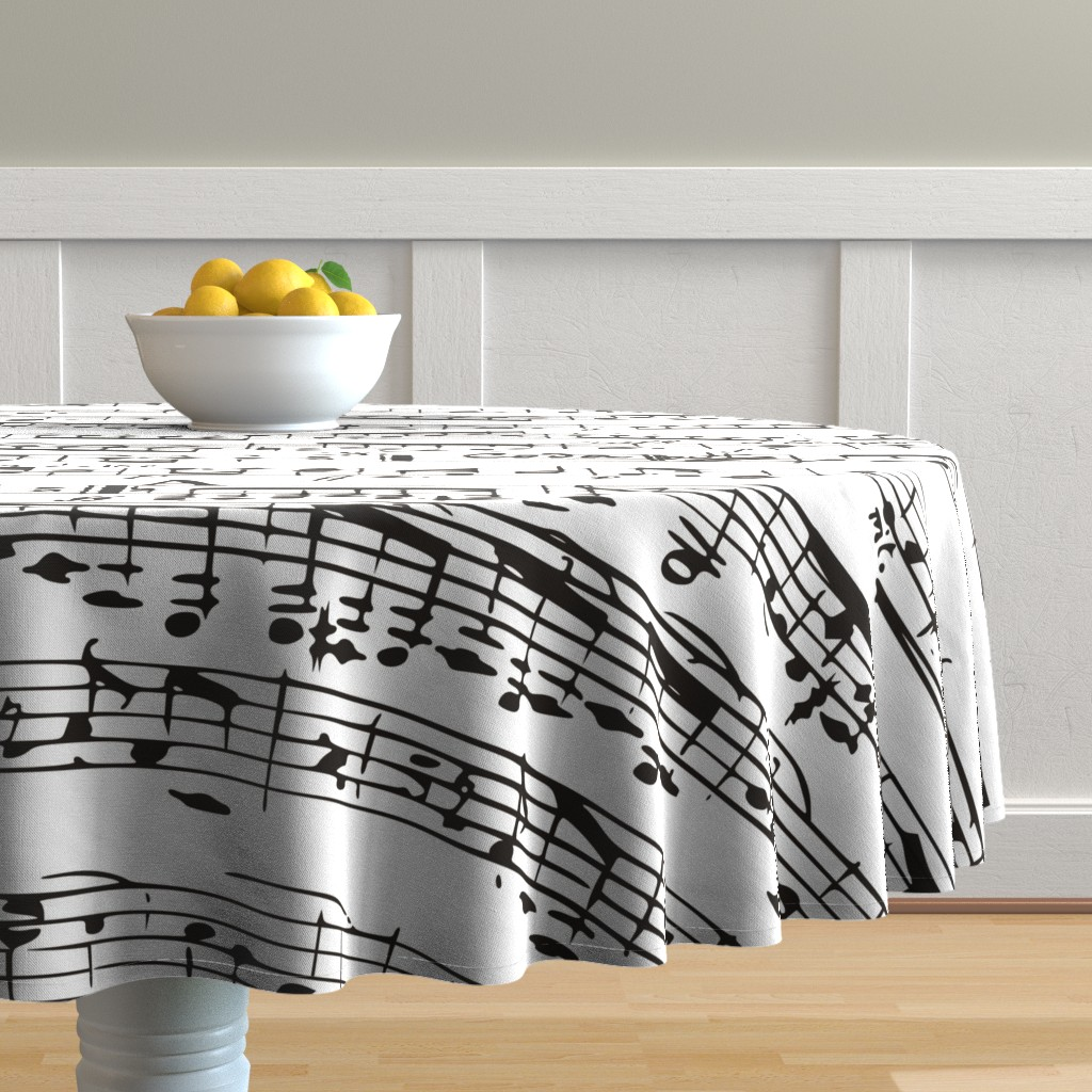 Malay Round Tablecloth featuring Black and white Music Notes  - LARGE by inspirationz