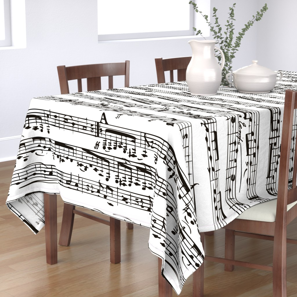 Bantam Rectangular Tablecloth featuring Black and white Music Notes  - LARGE by inspirationz