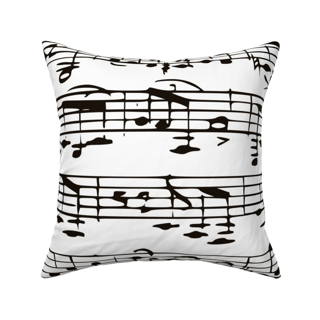 Catalan Throw Pillow featuring Black and white Music Notes  - LARGE by inspirationz