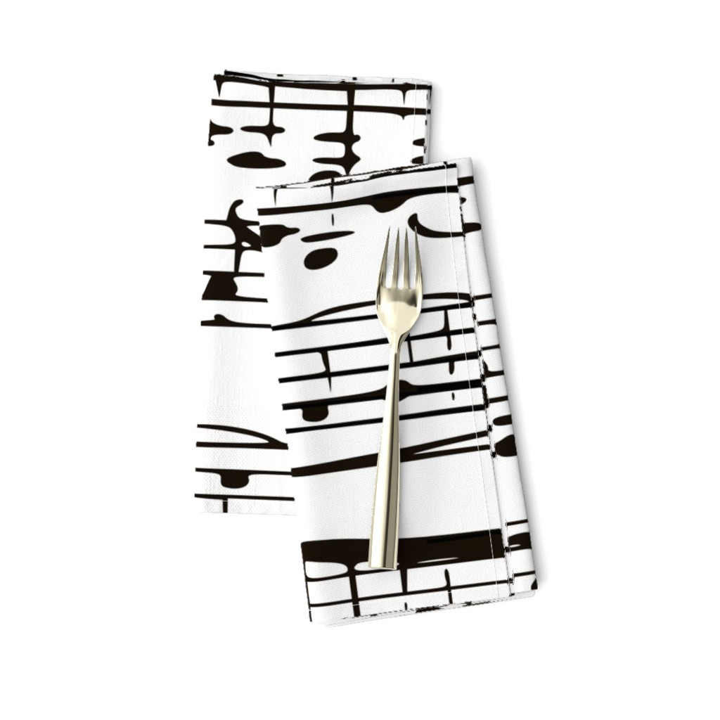 Amarela Dinner Napkins featuring Black and white Music Notes  - LARGE by inspirationz