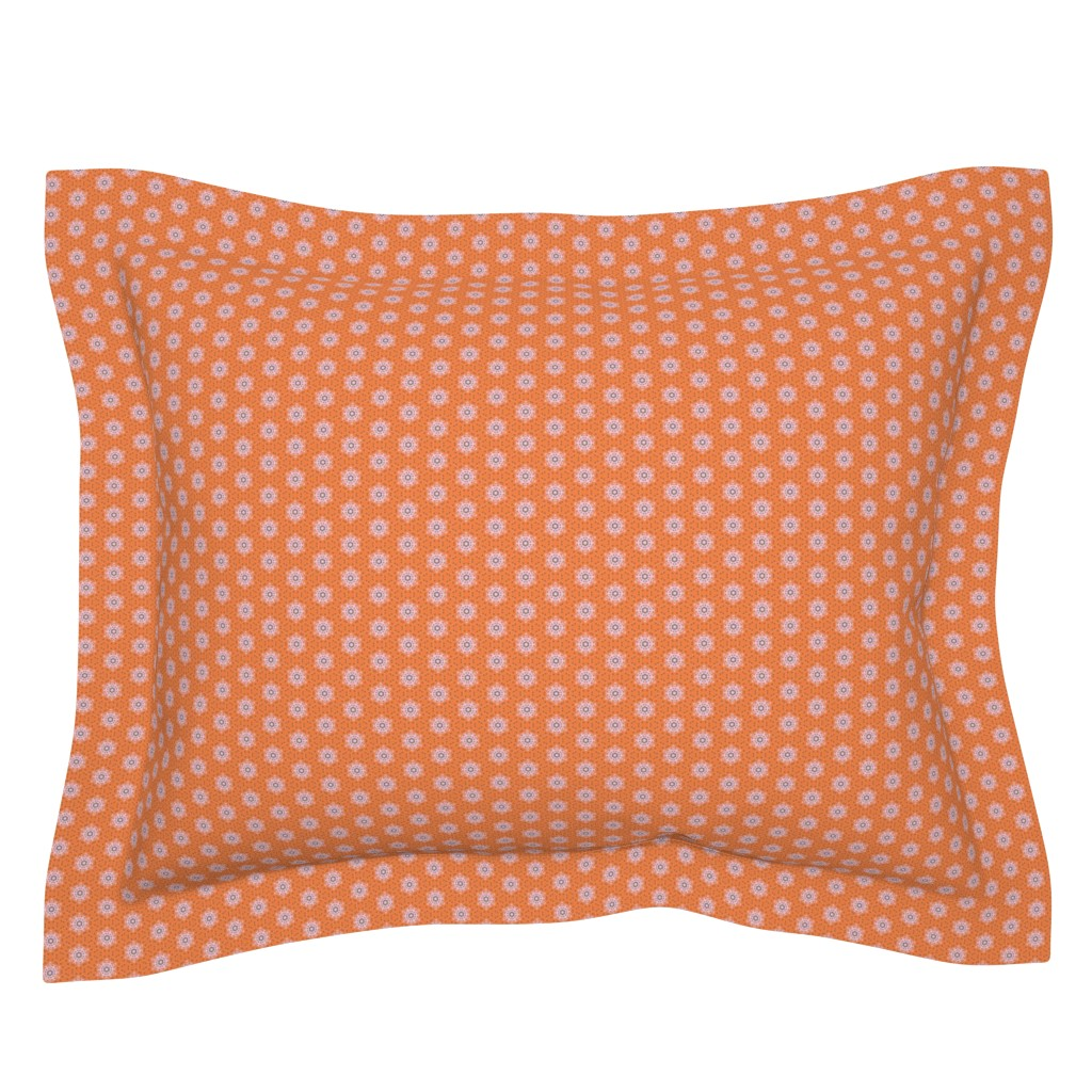 Sebright Pillow Sham featuring Orange Boho Flowers _CNY16 by Friztin by friztin