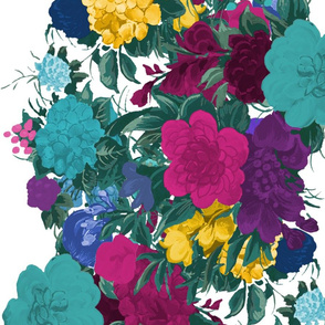 Mid Century Floral Cocktail ~ Border Print ~ Beach Party