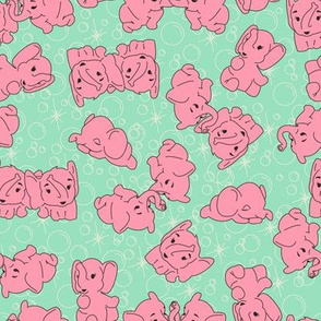 Pink Elephants- Mint Background