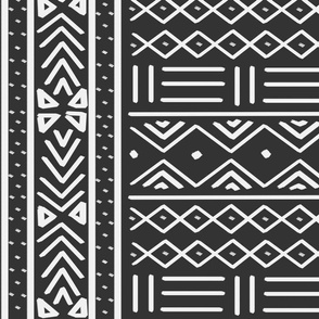 Large Charcoal African Mudcloth