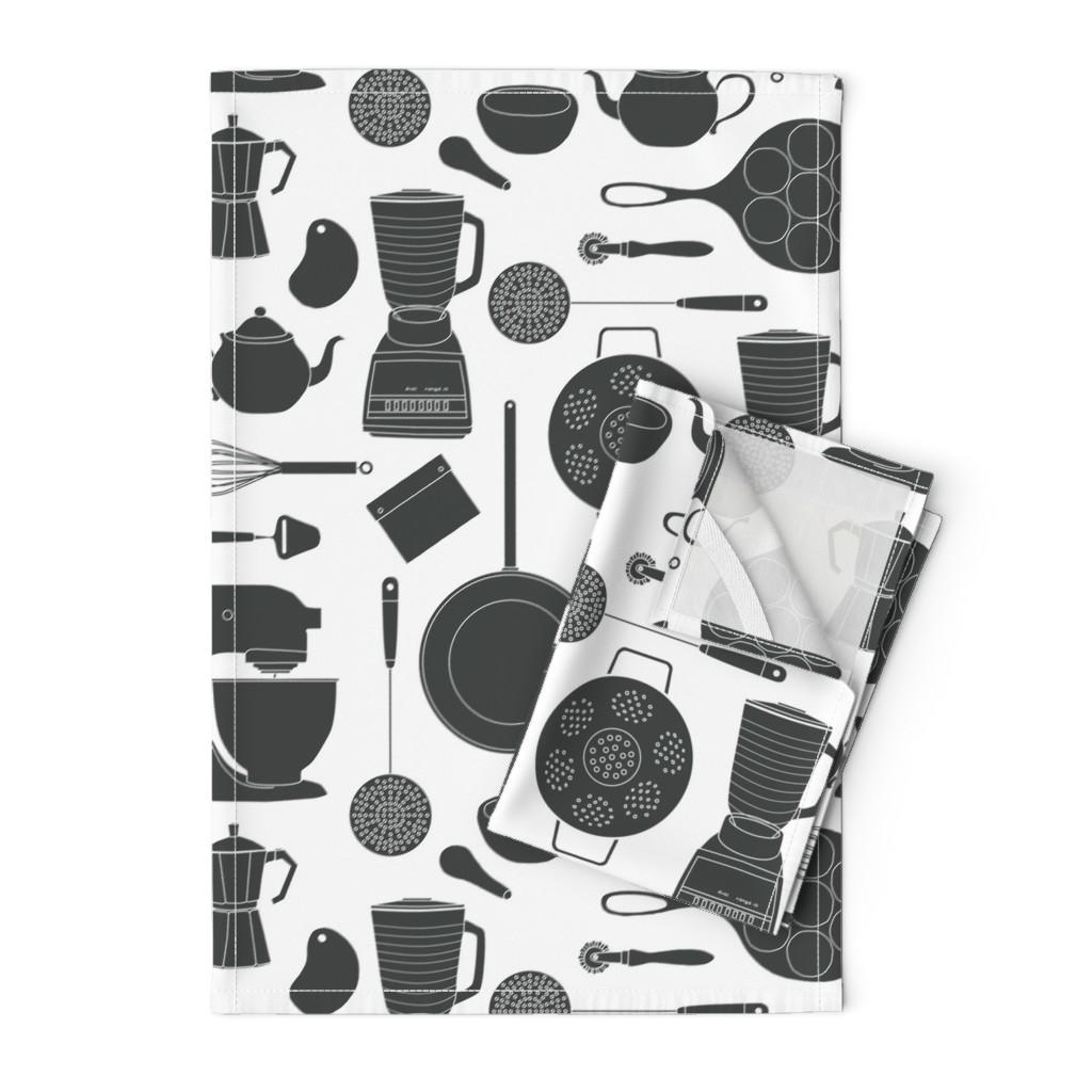 Orpington Tea Towels featuring kitchen gadgets (black & white) by johannak