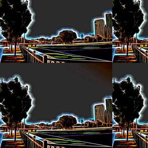 Darklly Lit Neon Chicago Park