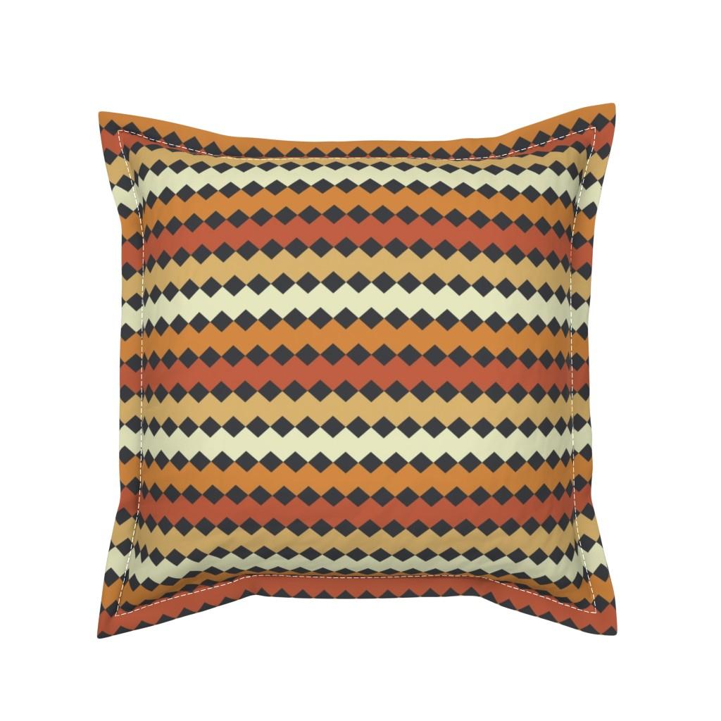 Serama Throw Pillow featuring Gray Diamonds on Orange Stripe by anniecdesigns